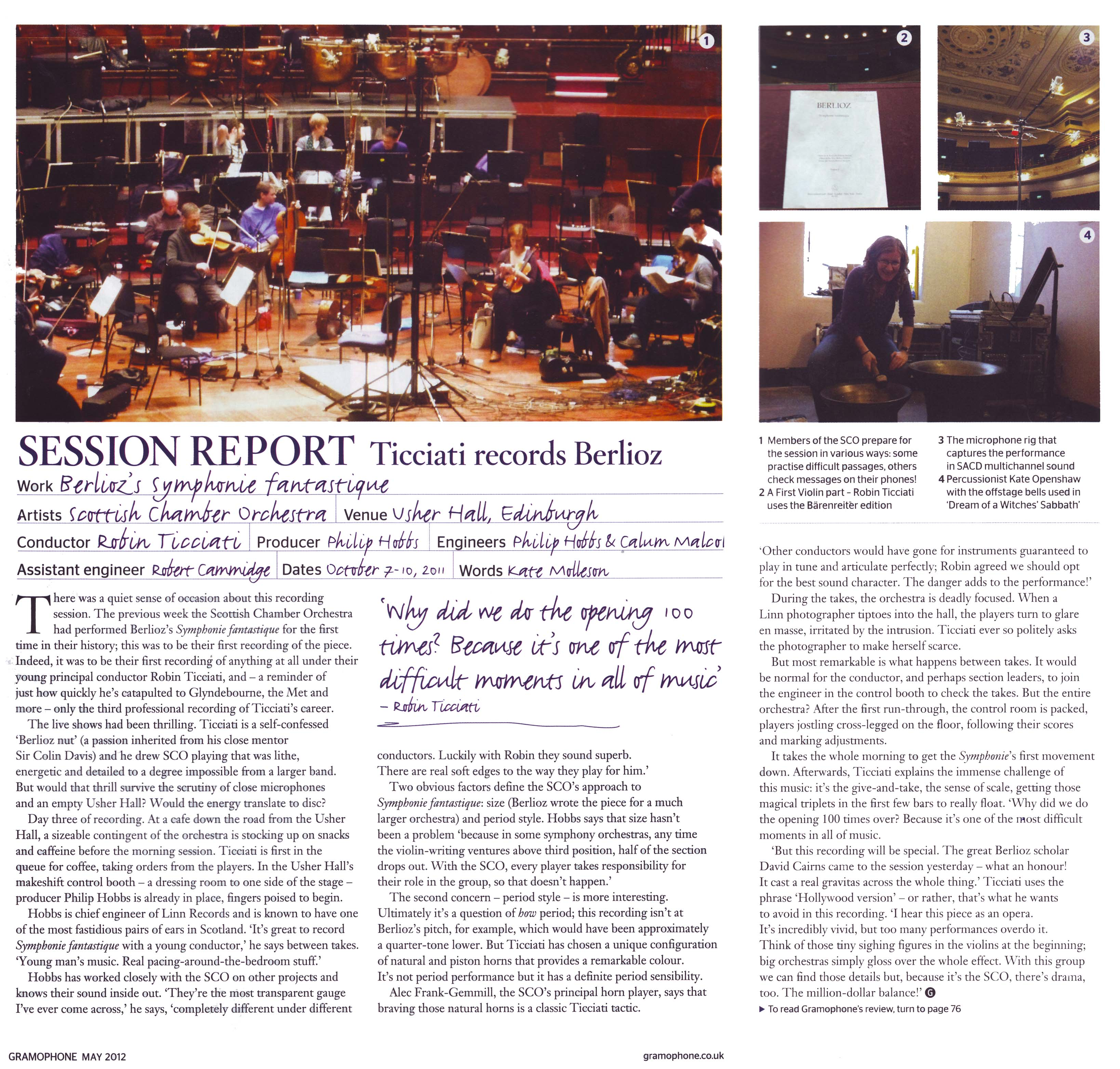 Gramophone May 2012 Session Report